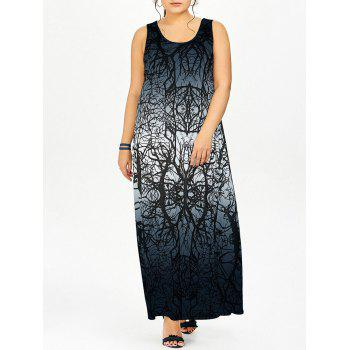Plus Size Ombre Graphic Maxi Dress