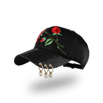 Beaded Circles Bespangling Rose Embroidered Baseball Hat