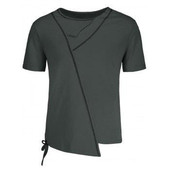 Asymmetric Lacing Hem Crew Neck T-Shirt