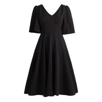 Vintage V Neck Swing Dress