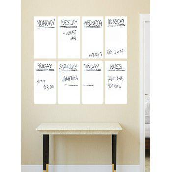 Weekly Schedule Notepad White Board 8PCS A4 Wall Stickers with Pen - WHITE