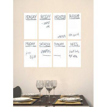 Calendrier hebdomadaire Notepad White Board 8PCS A4 Stickers muraux avec stylo - Blanc