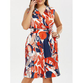 Plus Size Colorful Floral Surplice Dress with Belt