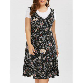 Plus Size V Neck Floral Drop Waist Dress