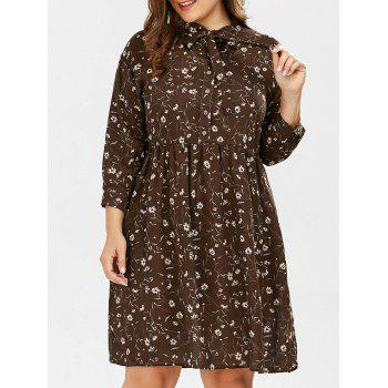 Plus Size Daisy Floral Button Down Pussy Bow Shirt Dress