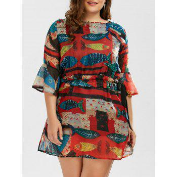 Printed Drawstring Plus Size A Line Dress