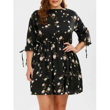 Floral A Line Plus Size Mini Dress