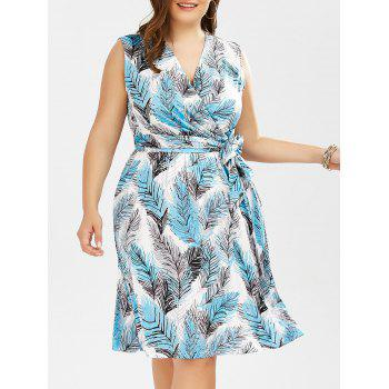 Plus Size Leaf Printed Surplice Dress With Belt