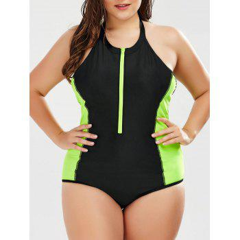 Two Tone One Piece Plus Size Swimsuit