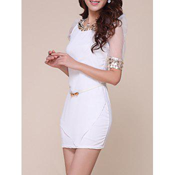 Sequins Mesh Trim Mini Fitted Dress - WHITE M