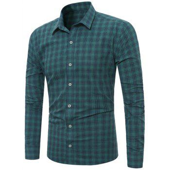 Long Sleeves Checkered Line Shirt