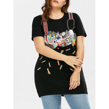 Plus Size Matchstick Funny Print Long T-Shirt