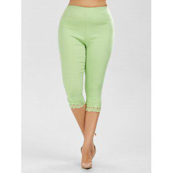 Lace Trim Plus Size High Waist Capri Leggings