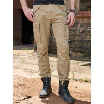 Button Pockets Design Cuffed Cargo Pants