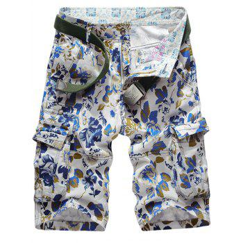 Multi Pockets Floral Pattern Cargo Shorts