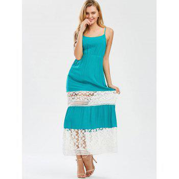Crochet Insert Cutwork Two Tone Dress - COLORMIX M
