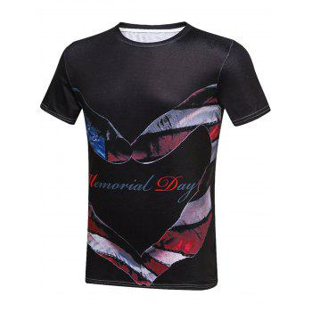 Americal Day Graphic Heart Gesture Print T-Shirt