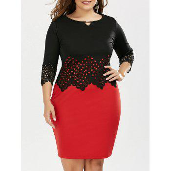 Plus Size Short Tight Slip Dress and Scalloped Cutout Top