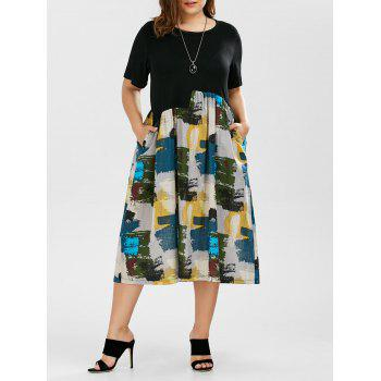 Painted Print A Line Plus Size Tea Length Dress