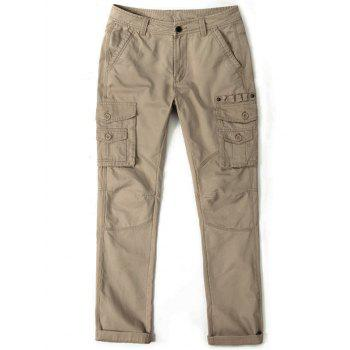Multi Pockets Metal Button Embellished Cargo Pants