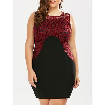 Plus Size Lace Panel Color Block Sheath Dress