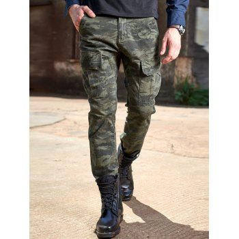 Drawstring Design Cuffed Camouflage Cargo Pants