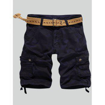Zip Fly Drawstring Design Camouflage Cargo Shorts
