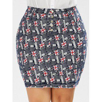 British Flag Print Plus Size Mini Denim Skirt