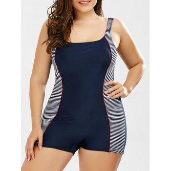Stripe Padded Plus Size One Piece Swimsuit