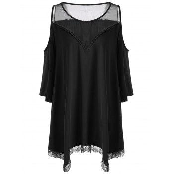 Plus Size Cold Shoulder Mesh Panel Dress