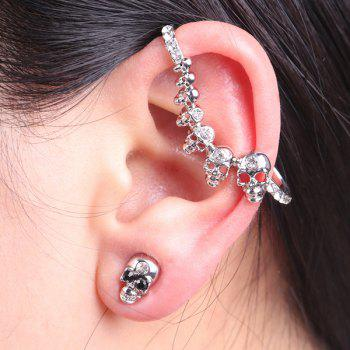 Rhinestoned Skulls Ear Cuff and Stud Earring