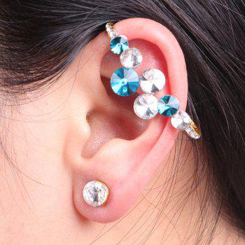 Rhinestone Circle Ear Cuff with Stud Earring