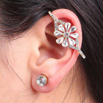 Rhinestoned Flower Ear Cuff and Stud Earring