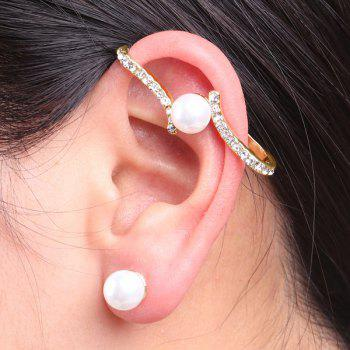 Rhinestone Faux Pearl Ear Cuff and Stud Earring