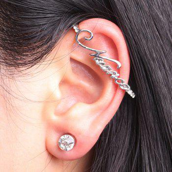 Rhinestone Letters Ear Cuff with Stud Earring
