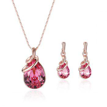 Rhinestone Faux Gem Teardrop Pendant Jewelry Set