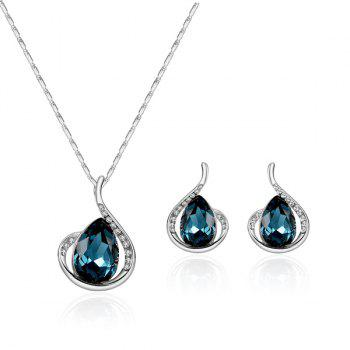 Artificial Sapphire Rhinestone Teardrop Pendant Jewelry Set