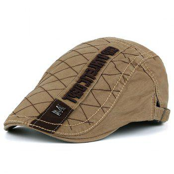 Rhombic Plaid Letters Embellished Flat Hat