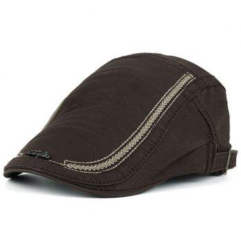 Stripe Embroidery Metallic Letters Embellished Newsboy Hat