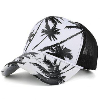 Mesh Splicing Coconut Tree Printed Baseball Hat