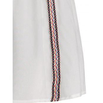 Off The Shoulder Embroidered Zig Zag Dress - WHITE ONE SIZE