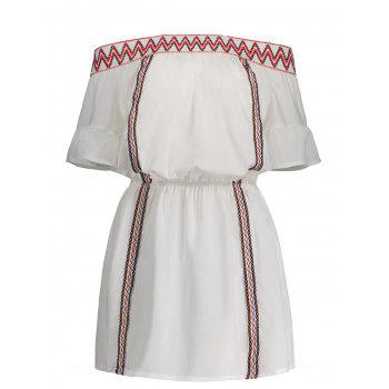 Off The Shoulder Embroidered Zig Zag Dress
