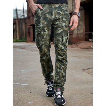Drawstring Design Zipper Fly Camouflage Cargo Pants
