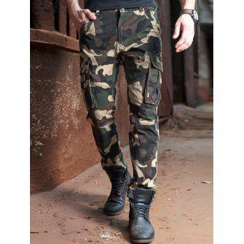 Multi Pockets Drawstring Design Camo Cargo Pants