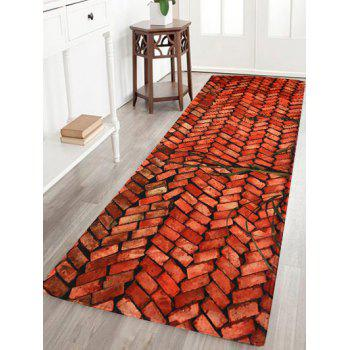 Brick Pattern Coral Velvet Soft Absorbent Area Rug