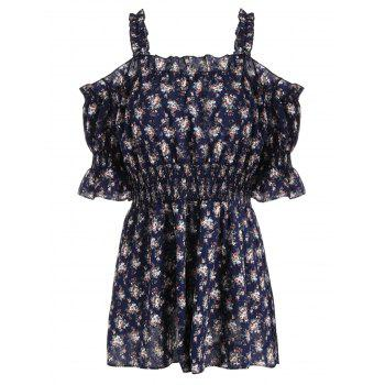 Plus Size Floral Print Off The Shoulder Mini Dress