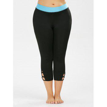 Plus Size Two Tone Cropped Workout Leggings - BLACK 4XL
