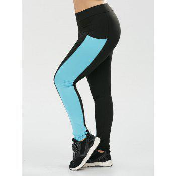Plus Size Two Tone Sports Leggings with Pocket - BLACK BLACK