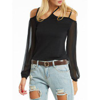Open Shoulder Chiffon Sleeve Cami Blouse - BLACK S