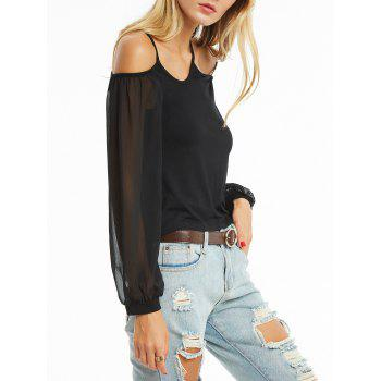 Open Shoulder Chiffon Sleeve Cami Blouse - S S